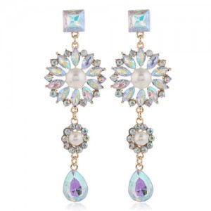 Glistening Flower Dangling Fashion Alloy Women Statement Earrings - Luminous White