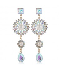 Glistening Flower Dangling Fashion Alloy Women Statement Earrings - Luminous White