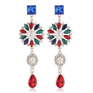 Glistening Flower Dangling Fashion Alloy Women Statement Earrings - Red