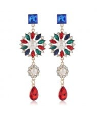 Glistening Flower Dangling Fashion Alloy Women Statement Earrings - Red