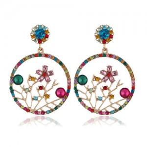 Flourishing Flowers Rhinestone Women Hoop Earrings - Multicolor