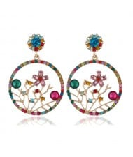 Flourishing Flowers Rhinestone Women Hoop Earrings - Multicolor