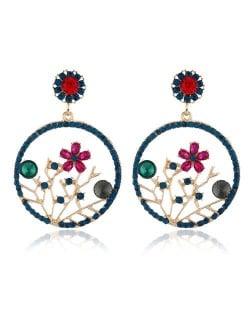 Flourishing Flowers Rhinestone Women Hoop Earrings - Blue