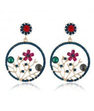 Flourishing Flowers Rhinestone Women Hoop Earrings - Blue