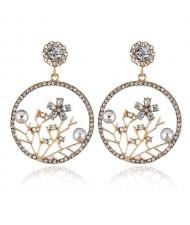 Flourishing Flowers Rhinestone Women Hoop Earrings - White