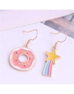 Korean Fashion Cute Doughnut and Rainbow Asymmetric Design Alloy Women Earrings
