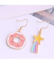 Korean Fashion Cute Doughnut and Rainbow Asymmetric Design Alloy Women Earrings