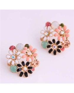 Mixed Colors Daisy Ball Shape Design High Fashion Women Earrings
