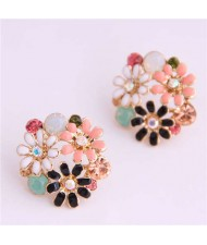 Mixed Colors Daisy Ball Shape Design High Fashion Women Earrings