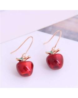 Korean Fashion Red Apple Unique Design Women Alloy Earrings