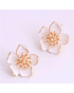 Delicate Peach Blossom Design Koeran Fashion Enamel Women Earrings - White