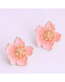 Delicate Peach Blossom Design Koeran Fashion Enamel Women Earrings - Pink