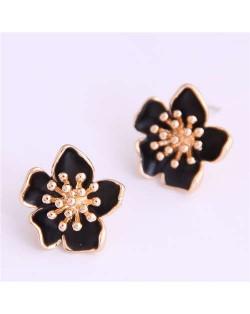 Delicate Peach Blossom Design Koeran Fashion Enamel Women Earrings - Black
