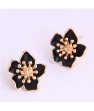 Delicate Peach Blossom Design Koeran Fashion Enamel Women Earrings - Black