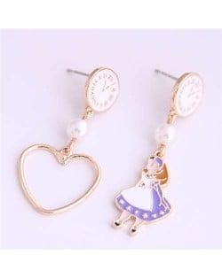 Cartoon Girl and Heart Asymmetric Pattern Clock Dial Design High Fashion Women Earrings - White