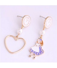Cartoon Girl and Heart Asymmetric Pattern Clock Dial Design High Fashion Women Earrings - White