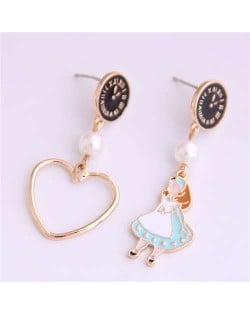 Cartoon Girl and Heart Asymmetric Pattern Clock Dial Design High Fashion Women Earrings - Black