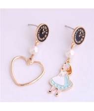 Cartoon Girl and Heart Asymmetric Pattern Clock Dial Design High Fashion Women Earrings - Black
