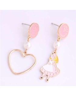 Cartoon Girl and Heart Asymmetric Pattern Clock Dial Design High Fashion Women Earrings - Pink