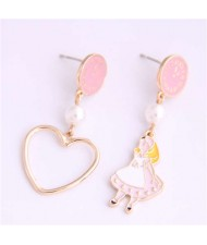 Cartoon Girl and Heart Asymmetric Pattern Clock Dial Design High Fashion Women Earrings - Pink