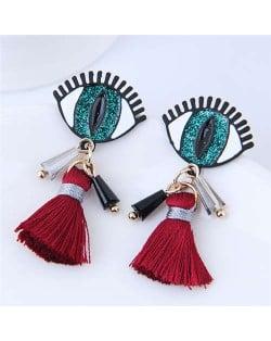 Horrible Eye Design Cotton Threads Tassel Enamel Women Fashion Earrings - Green