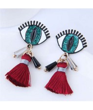 Horrible Eye Design Cotton Threads Tassel Enamel Women Fashion Earrings - Green