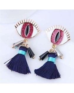 Horrible Eye Design Cotton Threads Tassel Enamel Women Fashion Earrings - Red