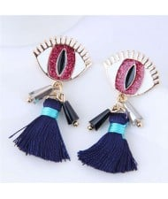 Horrible Eye Design Cotton Threads Tassel Enamel Women Fashion Earrings - Red