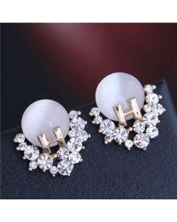 Unique Alphabet Design Rhinestone and Opal Embellished Fair Lady Fashion Women Earrings