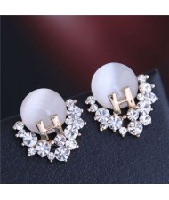 Unique Alphabet Design Rhinestone and Opal Embellished Fair Lady Fashion Women Earrings