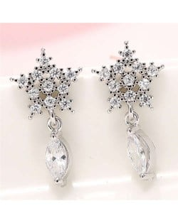 Cubic Zirconia Embellished Shining Snow Flake with Waterdrop Tassel Design Sweet Fashion Earrings - Silver