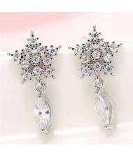 Cubic Zirconia Embellished Shining Snow Flake with Waterdrop Tassel Design Sweet Fashion Earrings - Silver