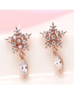 Cubic Zirconia Embellished Shining Snow Flake with Waterdrop Tassel Design Sweet Fashion Earrings - Rose Gold