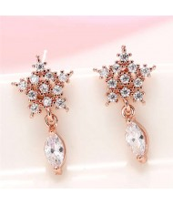 Cubic Zirconia Embellished Shining Snow Flake with Waterdrop Tassel Design Sweet Fashion Earrings - Rose Gold