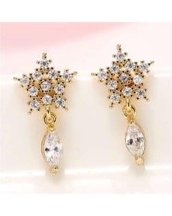 Cubic Zirconia Embellished Shining Snow Flake with Waterdrop Tassel Design Sweet Fashion Earrings - Golden
