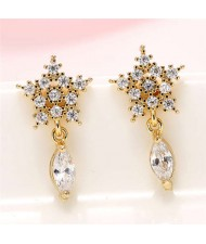 Cubic Zirconia Embellished Shining Snow Flake with Waterdrop Tassel Design Sweet Fashion Earrings - Golden