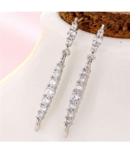 Cubic Zirconia Inlaid Creative Waterdrop Design Korean Fashion Women Copper Earrings - Silver