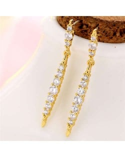 Cubic Zirconia Inlaid Creative Waterdrop Design Korean Fashion Women Copper Earrings - Golden