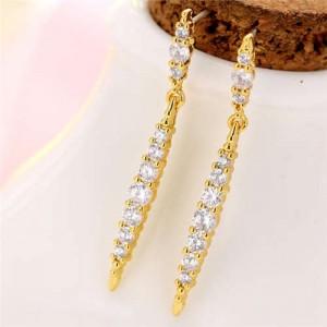 Cubic Zirconia Inlaid Creative Waterdrop Design Korean Fashion Women Copper Earrings - Golden