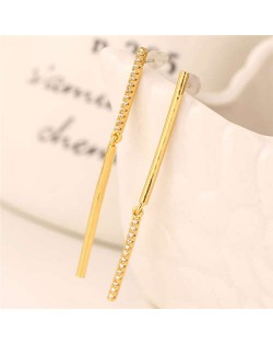 Rhinestone Embellished Linked Sticks Design Elegant Fashion Copper Women Earrings - Golden
