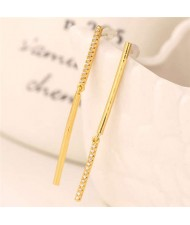 Rhinestone Embellished Linked Sticks Design Elegant Fashion Copper Women Earrings - Golden