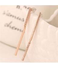 Rhinestone Embellished Linked Sticks Design Elegant Fashion Copper Women Earrings - Rose Gold