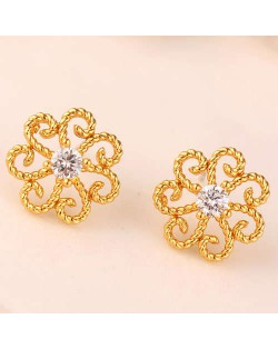 Cubic Zirconia Embellished Vintage Flower Pattern Copper Women Earrings - Golden