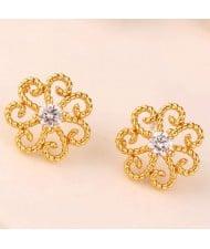 Cubic Zirconia Embellished Vintage Flower Pattern Copper Women Earrings - Golden