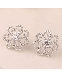 Cubic Zirconia Embellished Vintage Flower Pattern Copper Women Earrings - Silver