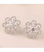 Cubic Zirconia Embellished Vintage Flower Pattern Copper Women Earrings - Silver