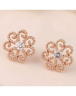 Cubic Zirconia Embellished Vintage Flower Pattern Copper Women Earrings - Rose Gold