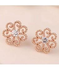 Cubic Zirconia Embellished Vintage Flower Pattern Copper Women Earrings - Rose Gold