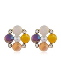 Pearl and Rhinestone Combo Design Flower Pattern Women Alloy Earrings - Yellow