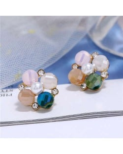 Pearl and Rhinestone Combo Design Flower Pattern Women Alloy Earrings - Pink